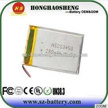 3.7v rechargeable li ion polymer battery 280mah 203450 lipo battery for bluetooth pen