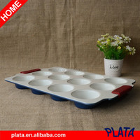 "15""x10"" Blue, 12 Cup Ceramic Muffin Pan with Silicone Handle"