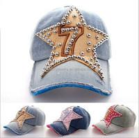 Fashion denim bling hat with stars