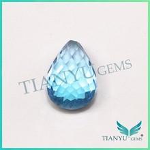 Venta al por mayor natural suelto piedras preciosas topacio azul gota forma de piedra topacio azul precio