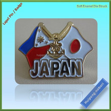 fashion design two countries crossing flags lapel pin with butterfly clutch