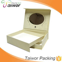 Custom White Hinged Cosmetic Packaging Paper Box with Drawer and Mirror