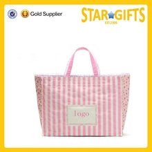 Alibaba China supply pink striped polyester shopping bag with Bud silk
