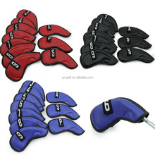 Custom made 10pcs(# 3- #9, SW, PW, A) PU leather golf iron club head covers black/red/blue for choice