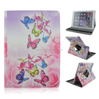 Beautiful Butterfly Flower Flip Stand PU Leather Case For iPad air 2, Rotate Cover For iPad 6 With Elastic Belt Shenzhen Factory