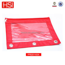 office stationery 3 ring pencil pouch with clear plastic window for USA market