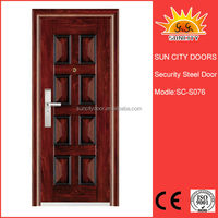 Exterior double steel door with glass insert