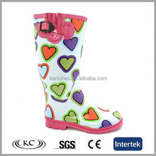 cheap new heart style womens colorful rain boots