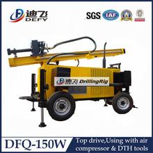 100 a 200 metros por día DFQ-150W montado en un trailer del la perforación de máquina para pozos de echar agua