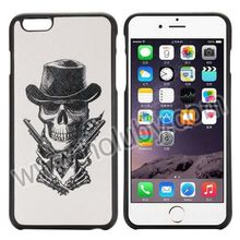 Phone6 Plus Case Sketch Skull with Guns Pattern Cross Texture Leather Coated TPU Case for Apple iPhone 6 Plus Case