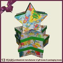 2015 New Design Star Shape Paper Christmas Gift Box Set of 3