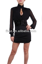 2015 fashion ladies black studded bodycon dress