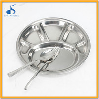 Round Stainless Steel hotel serving vintage cafeteria trays for fast food