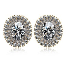 AAA cubic zircon slimming round earrings for woman and girls red ruby gemstone gold earrings