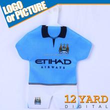 Mini custom design soccer jersey design car hanging pendant mini soccer jersey