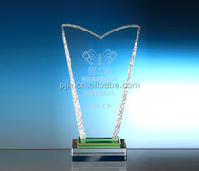 Two corners crystal standing award and trophies