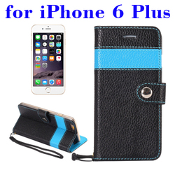 Best selling genuine leather wallet case for iPhone 6 plus with Card Slots and Lanyard