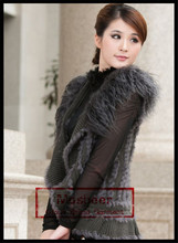 Gray Color Knitted Rabbit And Mongolian Fur Vest