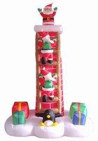 7' Airblown Inflatable Animated Santa Trio on Chimney Ladder Lighted Christmas Yard Art