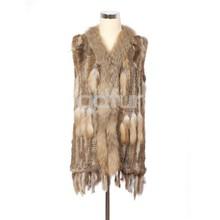 QDMJ006 Lady Clothes Long Knit Rabbit Fur Vest With Raccoon Dog Fur Collar For Women Clothing