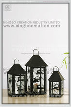 Decorative Metal Lantern With Handle, Black Metal Candle Lantern for Christmas Decoration, black candle lantern