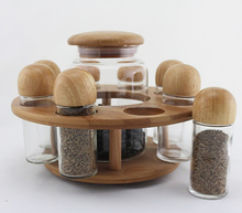 artificial kitchen bamboo storage jar spice glass jar