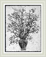 Custom modern white and black flower canvas print frame for sale, simple design wall decor
