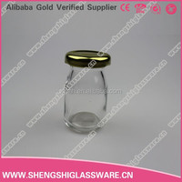 Small 50ml pudding glass bottle ,glass milk bottle with metail lid