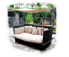 2015 Hot Sale Leisure Design outdoor daybed wicker sun lounger