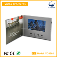 "newly CTSignage VC4300-B smart slim folding 4.3""lcd tft screen usb video greeting album,magnetic switch on/off customized size"
