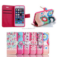 for iphone5 case, fashion flip wallet leather case for iPhone 5 5s