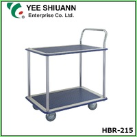 Double Tier Hand Push Trolley Truck with 4 Wheel