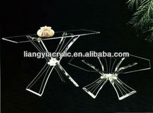 """Acrylic 3PC """"Flower"""" cocktail table, w octagon glass!"""