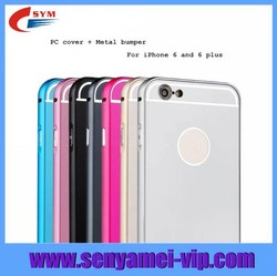 For Iphone 6 Plus Case Metal Case For IPhone 4.7 Case,For Apple iPhone 6 Plus Metal Bumper PC Back Covers 2 in 1