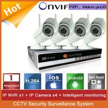 4ch NVR KIT 720P 1.0mp Wireless outdoor IP Camera P2P Home alarm video push CCTV Security Surveillance system 4ch WIFI NVR kit