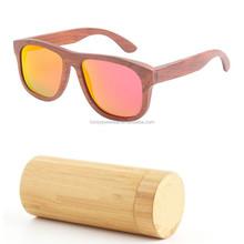 Custom laser logo orange lens wayfarer wooden sunglasses with bamboo case GA214-2