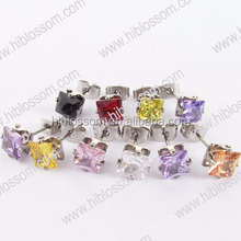 new design stainless steel stud earring colorful crystal earring