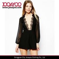 Sexy Fashion Black Lace V Neck Long Sleeve Playsuit Short Jumpsuits