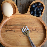 2015 New Products Eco-friendly Wholesale Lovely Design Baby Using Animal Design Natural Wooden Plates,
