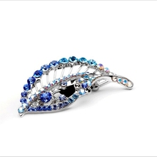 Wholesale plating metal leaf hair clips with rhinestone