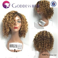 Fashion brazilian curly lace wig 16inch lace wig glueless with comb brazilian virgin hair ombre short wigs for black women