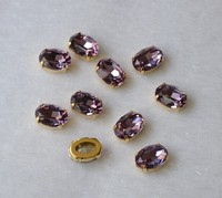 poinback sew on stones 10*14mm oval violet crystal with gold claw