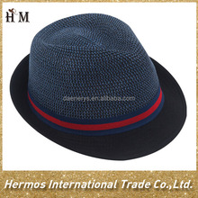 Cheap mens straw hats black cotton brim paper straw fedora popular hat