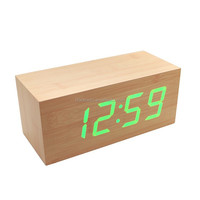 Home Desk Digital Jumbo LED Stand Wooden Alarm Clock for Hotel