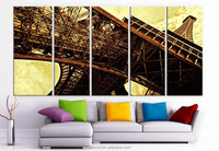 New arrival 5 panel paris scenery canvas art prints