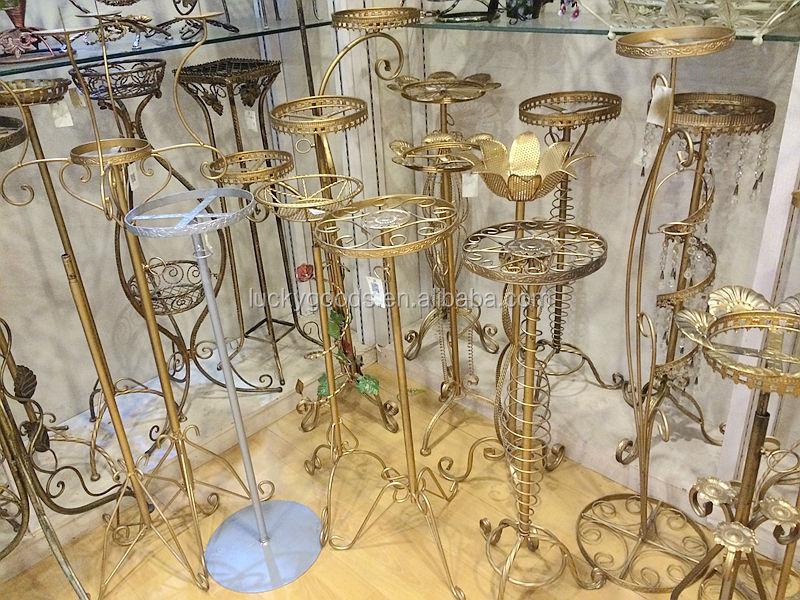 Gold Centerpiece Stands : Wedding centerpiece iron flower stands for weddings