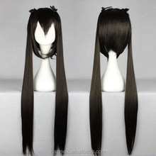 2015 High Quality Synthetic Hair cosplay Wig 100CM Long Straight Black Two Ponytails Cosplay Wigs