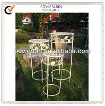 Unique design antique white round metal plant stand set 3