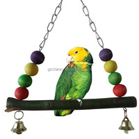 Hot Wooden Bird Parrot Swing Toy Parakeet Cockatiel Canary Finch Budgie Cage Aviary