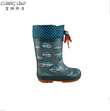 2015 New Desig Oxford Style With Racing Car Printing ,High Qulity And Cheap Rubber Rain Boot For Boys